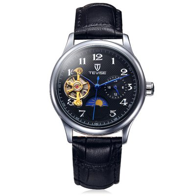 Tevise 8466 Tourbillon Design Leather Band Men Automatic Mechanical WatchMechanical Watches<br>Tevise 8466 Tourbillon Design Leather Band Men Automatic Mechanical Watch<br><br>Band material: Leather<br>Brand: Tevise<br>Case material: Alloy<br>Clasp type: Pin buckle<br>Display type: Analog<br>Movement type: Automatic mechanical watch<br>Package Contents: 1 x Tevise Automatic Mechanical Watch<br>Package size (L x W x H): 20.00 x 4.90 x 2.40 cm / 7.87 x 1.93 x 0.94 inches<br>Package weight: 0.1150 kg<br>Product size (L x W x H): 19.00 x 3.90 x 1.40 cm / 7.48 x 1.54 x 0.55 inches<br>Product weight: 0.0650 kg<br>Shape of the dial: Round<br>Special features: Phases of the moon, Working small two stitches, Tourbillon<br>The dial diameter: 3.9 cm / 1.53 inches<br>The dial thickness: 1.4 cm / 0.55 inches<br>Watch style: Business<br>Watches categories: Male table