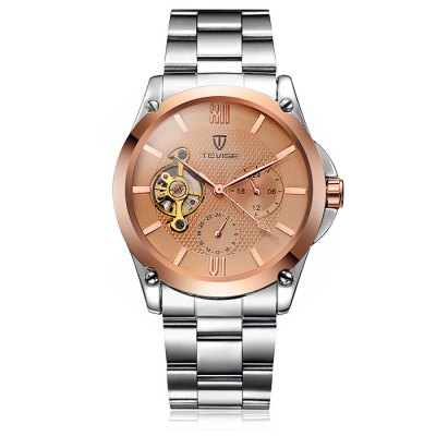 Tevise 8502 Men Tourbillon Automatic Mechanical Watch with Alloy BandMens Watches<br>Tevise 8502 Men Tourbillon Automatic Mechanical Watch with Alloy Band<br><br>Band material: Alloys<br>Brand: Tevise<br>Case material: Alloy<br>Clasp type: Folding clasp with safety<br>Display type: Analog<br>Movement type: Automatic mechanical watch<br>Package Contents: 1 x Tevise Automatic Mechanical Watch<br>Package size (L x W x H): 20 x 5.1 x 2.5 cm / 7.86 x 2.00 x 0.98 inches<br>Package weight: 0.169 kg<br>Product size (L x W x H): 19 x 4.1 x 1.5 cm / 7.47 x 1.61 x 0.59 inches<br>Product weight: 0.119 kg<br>Shape of the dial: Round<br>Special features: Working small two stitches, Tourbillon<br>The dial diameter: 4.1 cm / 1.64 inches<br>The dial thickness: 1.5 cm / 0.59 inches<br>Watch style: Business<br>Watches categories: Male table