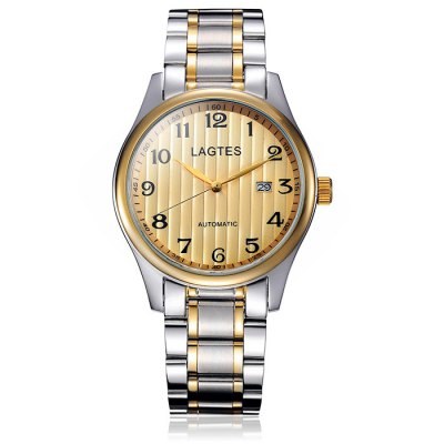 Lagtes Male Date Display Automatic Mechanical Watch with Stainless Steel BandMens Watches<br>Lagtes Male Date Display Automatic Mechanical Watch with Stainless Steel Band<br><br>Band material: Stainless Steel<br>Brand: Lagtes<br>Case material: Stainless Steel<br>Clasp type: Folding clasp with safety<br>Display type: Analog<br>Movement type: Automatic mechanical watch<br>Package Contents: 1 x Lagtes Automatic Mechanical Watch<br>Package size (L x W x H): 20 x 5 x 2.1 cm / 7.86 x 1.97 x 0.83 inches<br>Package weight: 0.182 kg<br>Product size (L x W x H): 19 x 4 x 1.1 cm / 7.47 x 1.57 x 0.43 inches<br>Product weight: 0.132 kg<br>Special features: Date<br>The dial diameter: 4.6 cm / 1.81 inches<br>The dial thickness: 1.6 cm / 0.63 inches<br>Watch style: Fashion<br>Watches categories: Male table