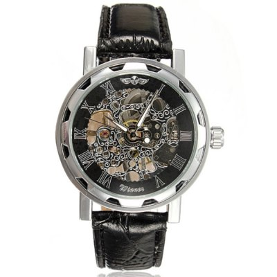 Winner Hollow-out Men Mechanical Watch with Leather Band