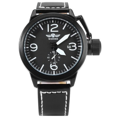 Winner 8035 Men Automatic Mechanical Watch with Leather Band Date FunctionMens Watches<br>Winner 8035 Men Automatic Mechanical Watch with Leather Band Date Function<br><br>Available Color: Black<br>Band material: Leather<br>Brand: Winner<br>Case material: Stainless Steel<br>Clasp type: Pin buckle<br>Display type: Analog<br>Movement type: Automatic mechanical watch<br>Package Contents: 1 x Winner 8035 Automatic Mechanical Watch<br>Package size (L x W x H): 27.3 x 6.4 x 2.4 cm / 10.73 x 2.52 x 0.94 inches<br>Package weight: 0.138 kg<br>Product size (L x W x H): 26.3 x 5.4 x 1.4 cm / 10.34 x 2.12 x 0.55 inches<br>Product weight: 0.088 kg<br>Shape of the dial: Round<br>Special features: Date, Moving small one stitch<br>The band width: 1.9 cm / 0.75 inches<br>The dial diameter: 4.5 cm / 1.77 inches<br>The dial thickness: 1.4 cm / 0.55 inches<br>Watch style: Business<br>Watches categories: Male table<br>Wearable length: 20.5 - 24 cm / 8.07 - 9.45 inches