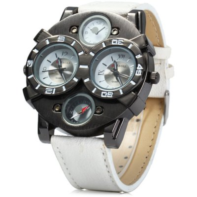 Jubaoli Compass Male Quartz Watch with Double Movt Leather Strap