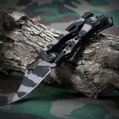 SR 2010C Mini Folding Knife with Camouflage Pattern and Mechanical Lock