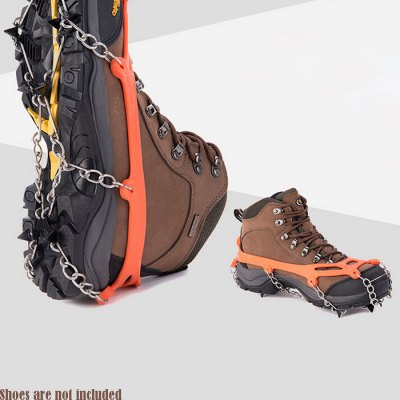 AOTU Climbing Crampons Boots Chain with 8 Teeth SpikesShoes<br>AOTU Climbing Crampons Boots Chain with 8 Teeth Spikes<br><br>Brand: Aotu<br>Color: Black,Orange<br>Gender: Unisex<br>Material: TPE Rubber,  Steel<br>Package Contents: 2 x AOTU 8 Teeth Crampons Shoes Chain<br>Package size (L x W x H): 23.00 x 21.00 x 2.50 cm / 9.06 x 8.27 x 0.98 inches<br>Package weight: 0.4000 kg<br>Product size (L x W x H): 21.00 x 15.50 x 15.50 cm / 8.27 x 6.1 x 6.1 inches<br>Product weight: 0.3500 kg