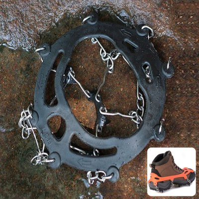 AOTU Climbing Crampons Boots Chain with 8 Teeth Spikes