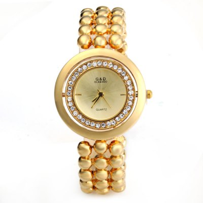GND Diamond Women Quartz Chain Watch with Stainless Steel Body Rotated DialWomens Watches<br>GND Diamond Women Quartz Chain Watch with Stainless Steel Body Rotated Dial<br><br>Available Color: Gold,Silver<br>Band material: Stainless Steel<br>Brand: GND<br>Case material: Stainless Steel<br>Clasp type: Sheet folding clasp<br>Display type: Analog<br>Movement type: Quartz watch<br>Package Contents: 1 x GND Watch<br>Package size (L x W x H): 21.5 x 4.4 x 1.7 cm / 8.45 x 1.73 x 0.67 inches<br>Package weight: 0.134 kg<br>Product size (L x W x H): 20.5 x 3.4 x 0.7 cm / 8.06 x 1.34 x 0.28 inches<br>Product weight: 0.084 kg<br>Shape of the dial: Round<br>Style: Fashion&amp;Casual, Bracelet<br>The band width: 1.5 cm / 0.59 inches<br>The dial diameter: 3.4 cm / 1.33 inches<br>The dial thickness: 0.7 cm / 0.27 inches<br>Watches categories: Female table