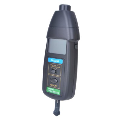 DT2236B 2 in 1 Contact / Non-contact TachometerTesters &amp; Detectors<br>DT2236B 2 in 1 Contact / Non-contact Tachometer<br><br>Accuracy  : ±(0.05%+1 digit)<br>Material: Plastic<br>Maximum Show Value: 99,999 RPM<br>Measurement range : Photo Tach: 2.5~99,999RPM; Contact Tach: 0.5~19,999RPM; Surface Speed: 0.05~1,999.9(m/min)<br>Model: DT2236B<br>Package Contents: 1 x DT2236B 2 in 1 Contact / Non-contact Tachometer, 4 x Speed Measurement Fitting, 3 x Reflection Tape, 1 x English Manual, 3 x 1.5V AAA Battery<br>Package size: 26.00 x 13.50 x 7.50 cm / 10.24 x 5.31 x 2.95 inches<br>Package weight: 0.617 kg<br>Primary functions: wire speed, The measurement rotation speed<br>Product size: 18.00 x 8.00 x 3.00 cm / 7.09 x 3.15 x 1.18 inches<br>Product weight: 0.185 kg<br>Professional instruments: Analyzer<br>Sampling Time: 0.5 second<br>Scope of application: Office, Industrial, Home appliance, Education, Agricultural<br>Type: Measuring instruments<br>Working Mode: Instant Measurement<br>Working Power: 1.5V AAA battery 3PCS
