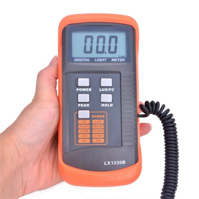 LX1330B Digital Light MeterTesters &amp; Detectors<br>LX1330B Digital Light Meter<br><br>Accuracy  : ?20,000Lux, ±(4%rdg+10digit), &gt;20,000Lux, ±(5%rdg+10digit)<br>Certificate: CE<br>Material: Plastic, ABS<br>Maximum Show Value: 200,000 Lux / 20,000 FC<br>Measurement range : 0.1 Lux to 200,000 Lux / 0.01 FC to 20,000 FC<br>Model: LX1330B<br>Package Contents: 1 x Light Meter, 1 x 9V Battery, 1 x English Manual, 1 x Black Tool Box<br>Package size: 21 x 16 x 5.5 cm / 8.25 x 6.29 x 2.16 inches<br>Package weight: 0.581 kg<br>Primary functions: Light Tester<br>Product size: 16 x 8 x 4.3 cm / 6.29 x 3.14 x 1.69 inches<br>Product weight: 0.273 kg<br>Professional instruments: Light Illuminance Tester,Combustible Gas Detector<br>Sampling Time: 2 times / second<br>Scope of application: Agricultural, Office, Education, Industrial, Home appliance<br>Type: Measuring instruments<br>Working Mode: Instant Measurement<br>Working Power: 1 x 9V battery