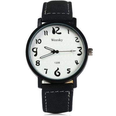 Weesky 1206 Male Quartz Watch with Leather BandMens Watches<br>Weesky 1206 Male Quartz Watch with Leather Band<br><br>Available Color: Black,Red,Brown,Gray<br>Band material: Leather<br>Brand: Weesky<br>Case material: Stainless Steel<br>Clasp type: Pin buckle<br>Display type: Analog<br>Movement type: Quartz watch<br>Package Contents: 1 x Weeshy 1206 Watch<br>Package size (L x W x H): 25.00 x 5.00 x 1.80 cm / 9.84 x 1.97 x 0.71 inches<br>Package weight: 0.083 kg<br>Product size (L x W x H): 24.00 x 4.00 x 0.80 cm / 9.45 x 1.57 x 0.31 inches<br>Product weight: 0.033 kg<br>Shape of the dial: Round<br>The band width: 2.0 cm / 0.79 inches<br>The dial diameter: 4.0 cm / 1.57 inches<br>The dial thickness: 0.8 cm / 0.31 inches<br>Watch style: Fashion<br>Watches categories: Male table<br>Wearable length: 17.5 - 21cm / 6.89 - 8.27 inches