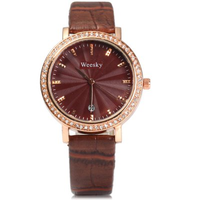 Weesky 1212G Diamond Female Quartz Watch with Date Display Golden CaseWomens Watches<br>Weesky 1212G Diamond Female Quartz Watch with Date Display Golden Case<br><br>Available Color: Pink,Black,White,Brown<br>Band material: Leather<br>Brand: Weesky<br>Case material: Stainless Steel<br>Display type: Analog<br>Movement type: Quartz watch<br>Package Contents: 1 x Weesky 1212G Watch<br>Package size (L x W x H): 25 x 4.5 x 1.7 cm / 9.83 x 1.77 x 0.67 inches<br>Package weight: 0.08 kg<br>Product size (L x W x H): 24 x 3.5 x 0.7 cm / 9.43 x 1.38 x 0.28 inches<br>Product weight: 0.030 kg<br>Shape of the dial: Round<br>Special features: Date<br>Style: Fashion&amp;Casual<br>The band width: 1.5 cm / 0.59 inches<br>The dial diameter: 3.5 cm / 1.38 inches<br>The dial thickness: 0.7 cm / 0.28 inches<br>Watches categories: Female table<br>Wearable length: 16.5 - 20 cm / 6.50 - 7.87 inches