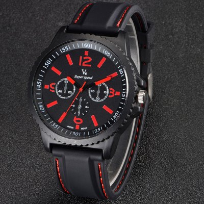 V6 Male Japan Quartz Watch with Double Scales Rubber Band