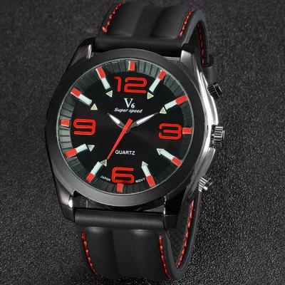 V6 V0186 Male Quartz Watch with Rubber Band