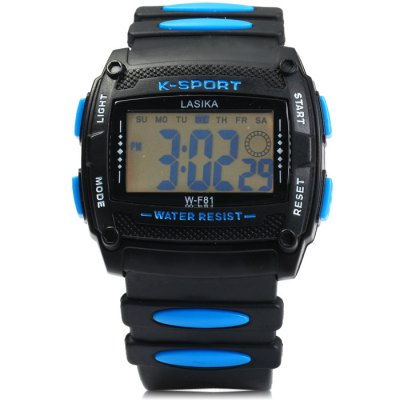 Lasika WF81 LED Sports WatchSports Watches<br>Lasika WF81 LED Sports Watch<br><br>Available Color: Black,Red,Blue,Green,Yellow<br>Band material: Rubber<br>Brand: Lasika<br>Case material: PC<br>Clasp type: Pin buckle<br>Display type: Digital<br>Movement type: Digital watch<br>Package Contents: 1 x Lasika WF81 LED Watch, 1 x Chinese and English Manual<br>Package size (L x W x H): 25.6 x 5.5 x 2.5 cm / 10.06 x 2.16 x 0.98 inches<br>Package weight: 0.090 kg<br>People: Male table<br>Product size (L x W x H): 24.6 x 4.5 x 1.5 cm / 9.67 x 1.77 x 0.59 inches<br>Product weight: 0.040 kg<br>Shape of the dial: Rectangle<br>Special features: Day, Date, Stopwatch, Alarm Clock<br>The band width: 2.1 cm / 0.83 inches<br>The dial diameter: 4.5 cm / 1.77 inches<br>The dial thickness: 1.5 cm / 0.6 inches<br>Watch style: Outdoor Sports, LED<br>Water resistance : 30 meters<br>Wearable length: 15 - 21 cm / 5.9 - 8.27 inches