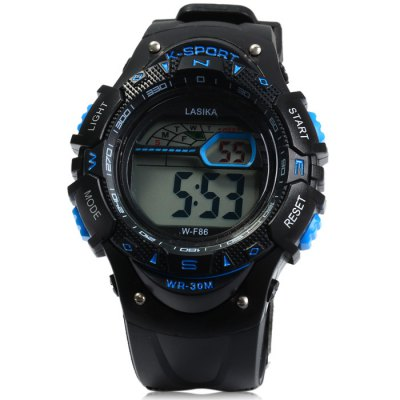 Lasika WF86 LED Sports WatchSports Watches<br>Lasika WF86 LED Sports Watch<br><br>Available Color: Black,Red,Blue,Green,Yellow<br>Band material: Rubber<br>Brand: Lasika<br>Case material: PC<br>Clasp type: Pin buckle<br>Display type: Digital<br>Movement type: Digital watch<br>Package Contents: 1 x Lasika WF86 LED Watch, 1 x Chinese and English Manual<br>Package size (L x W x H): 25 x 5.2 x 2.5 cm / 9.83 x 2.04 x 0.98 inches<br>Package weight: 0.088 kg<br>People: Male table<br>Product size (L x W x H): 24 x 4.2 x 1.5 cm / 9.43 x 1.65 x 0.59 inches<br>Product weight: 0.038 kg<br>Shape of the dial: Round<br>Special features: Day, Stopwatch, Light, Date, Alarm Clock<br>The band width: 2.1 cm / 0.83 inches<br>The dial diameter: 4.2 cm / 1.65 inches<br>The dial thickness: 1.5 cm / 0.6 inches<br>Watch style: Outdoor Sports, LED<br>Water resistance : 30 meters<br>Wearable length: 15 - 21 cm / 5.9 - 8.27 inches