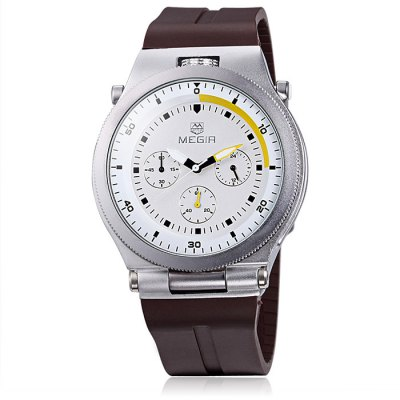 MEGIR 2512 Male Japan Quartz WatchMens Watches<br>MEGIR 2512 Male Japan Quartz Watch<br><br>Available Color: Black,White,Brown<br>Band material: Silicone<br>Brand: MEGIR<br>Case material: Alloy<br>Clasp type: Pin buckle<br>Display type: Analog<br>Movement type: Quartz watch<br>Package Contents: 1 x MEGIR 2512 Watch<br>Package size (L x W x H): 28.5 x 5.4 x 2.7 cm / 11.20 x 2.12 x 1.06 inches<br>Package weight: 0.17 kg<br>Product size (L x W x H): 27.5 x 4.4 x 1.7 cm / 10.81 x 1.73 x 0.67 inches<br>Product weight: 0.120 kg<br>Shape of the dial: Round<br>Special features: Moving small three stitches<br>The band width: 2.2 cm / 0.87 inches<br>The dial diameter: 4.4 cm / 1.73 inches<br>The dial thickness: 1.7 cm / 0.39 inches<br>Watch style: Business<br>Watches categories: Male table<br>Water resistance : 30 meters