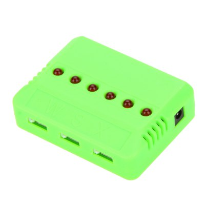 WSX / MX X6A - B 6 - Port Charger for WLtoys V686 G H12C 3A US Plug with EU AdapterRC Quadcopter Parts<br>WSX / MX X6A - B 6 - Port Charger for WLtoys V686 G H12C 3A US Plug with EU Adapter<br><br>Package Contents: 1 x X6 Charger, 1 x US Charger Plug with EU Adapter, 6 x JST Cable<br>Package size (L x W x H): 14.50 x 5.00 x 9.00 cm / 5.71 x 1.97 x 3.54 inches<br>Package weight: 0.1600 kg