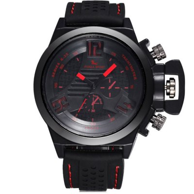 FORZA SPORT 2497 Men Japan Movt Quartz Watch with Silicone StrapMens Watches<br>FORZA SPORT 2497 Men Japan Movt Quartz Watch with Silicone Strap<br><br>Available Color: Black,White,Red,Blue,Green,Yellow<br>Band material: Silicone<br>Brand: FORZA SPORT<br>Case material: Alloy<br>Clasp type: Pin buckle<br>Display type: Analog<br>Movement type: Quartz watch<br>Package Contents: 1 x FORZA SPORT 2497 Watch<br>Package size (L x W x H): 28 x 5.7 x 2.4 cm / 11.00 x 2.24 x 0.94 inches<br>Package weight: 0.151 kg<br>Product size (L x W x H): 27 x 4.7 x 1.4 cm / 10.61 x 1.85 x 0.55 inches<br>Product weight: 0.101 kg<br>Shape of the dial: Round<br>Special features: Luminous, Decorating small sub-dials<br>The band width: 2.2 cm / 0.87 inches<br>The dial diameter: 4.7 cm / 1.85 inches<br>The dial thickness: 1.4 cm / 0.55 inches<br>Watch style: Casual<br>Watches categories: Male table