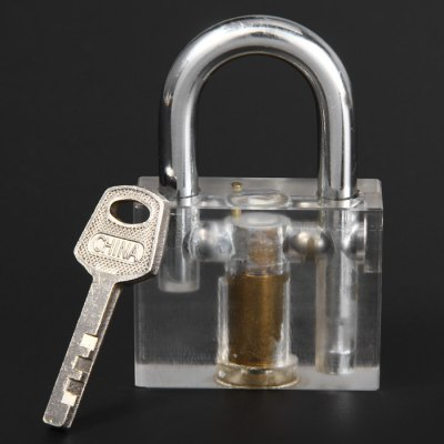 Transparent Inner Visual LockLock Picks and Tools<br>Transparent Inner Visual Lock<br><br>Color: Transparent<br>Materials: ABS, Copper<br>Package Contents: 1 x Transparent Inner Visual Lock, 1 x Key<br>Package size (L x W x H): 13.40 x 11.10 x 2.00 cm / 5.28 x 4.37 x 0.79 inches<br>Package weight: 0.160 kg<br>Packing Type: Kits<br>Product size (L x W x H): 7.60 x 4.90 x 1.90 cm / 2.99 x 1.93 x 0.75 inches<br>Product weight: 0.103 kg<br>Special function: studying how the lock works