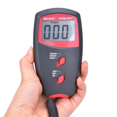 LX1010B Digital Light MeterTesters &amp; Detectors<br>LX1010B Digital Light Meter<br><br>Accuracy  : ?10,000Lux: ±4%rdg±0.5f.s<br>Certificate: CE<br>Material: Plastic, ABS<br>Maximum Show Value: 100,000 Lux<br>Measurement range : 0 to 100,000 Lux<br>Model: LX1010B<br>Package Contents: 1 x Light Meter, 1 x 9V Battery, 1 x English Manual, 1 x Carry Bag<br>Package size: 16 x 16 x 4 cm / 6.29 x 6.29 x 1.57 inches<br>Package weight: 0.318 kg<br>Primary functions: Light Tester<br>Product size: 13 x 7 x 3 cm / 5.11 x 2.75 x 1.18 inches<br>Product weight: 0.134 kg<br>Sampling Time: 2 times / second<br>Scope of application: Office, Agricultural, Industrial, Home appliance, Education<br>Type: Measuring instruments<br>Working Mode: Instant Measurement<br>Working Power: 1 x 9V battery