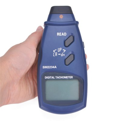 SM2234A Photoelectric Digital TachometerTesters &amp; Detectors<br>SM2234A Photoelectric Digital Tachometer<br><br>Accuracy  : ± (0.05 percent+1digital)<br>Certificate: CE,RoHs<br>Laser Beam: Classic 2, 2-5mW<br>Material: Plastic<br>Maximum Show Value: 99999 RPM<br>Measurement range : 2.5 to 99999 RPM<br>Model: SM2234A<br>Package Contents: 1 x SM2234A Photoelectric Digital Tachometer, 3 x Reflection Tape, 3 x 1.5V AA Battery, 1 x Carry Bag, 1 x English Manual<br>Package size: 17.5 x 11 x 5 cm / 6.88 x 4.32 x 1.97 inches<br>Package weight: 0.325 kg<br>Primary functions: Measuring mechanical rotational speed<br>Product size: 16 x 7 x 3.5 cm / 6.29 x 2.75 x 1.38 inches<br>Product weight: 0.136 kg<br>Professional instruments: Clamp Meter<br>Sampling Time: 0.8 second<br>Scope of application: Office, Education, Agricultural, Industrial, Home appliance<br>Type: Measuring tools<br>Working Mode: Instant Measurement<br>Working Power: 1.5V AA battery