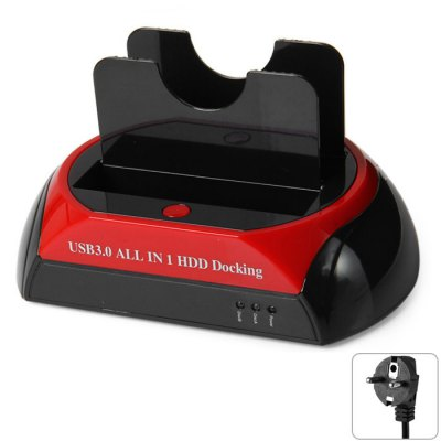 USB 3.0 Dual HDD Docking StationHDD &amp; SSD<br>USB 3.0 Dual HDD Docking Station<br><br>Color: Black,Red<br>External Interface: USB2.0, USB3.0<br>Package Size(L x W x H): 18.90 x 11.80 x 11.70 cm / 7.44 x 4.65 x 4.61 inches<br>Package weight: 0.6580 kg<br>Packing List: 1 x HDD Docking, 1 x Power Adapter, 1 x Power Cable, 1 x USB Cable, 1 x English Manual, 1 x Installation CD<br>Product Size(L x W x H): 17.90 x 11.10 x 10.10 cm / 7.05 x 4.37 x 3.98 inches<br>Product weight: 0.2480 kg<br>Size: 2.5 inch,3.5 inch