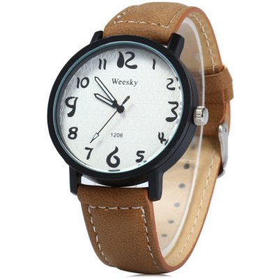Weesky 1206 Male Quartz Watch with Leather Band