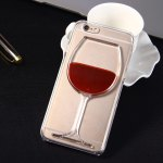 3D Liquid Flow Red Wine Glass Cover Case for iPhone 6 6S