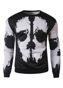 Trendy Round Neck 3D Abstract Print Slimming Long Sleeve Cotton Blend Black and White Sweatshirt For Men