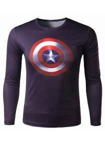 Round Neck 3D Print Slimming Long Sleeve Polyester Quick-Dry T-Shirt