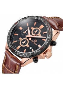 MEGIR 3001 Water Resistance Men Japan Quartz Watch with Genuine Leather Strap