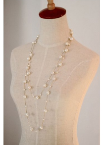 Faux Pearl Double Layered Beaded Necklace