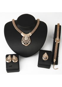 Stunning Zircon Inlaid Solid Color Women's Necklace Bracelet Ring and A Pair of Earrings