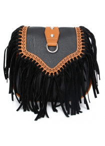 Retro Engraving and Fringe Design Women's Crossbody Bag