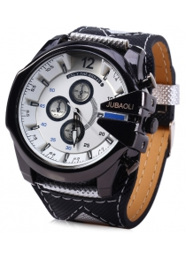 Jubaoli Date Function Male Quartz Watch with Canvas + Leather Band