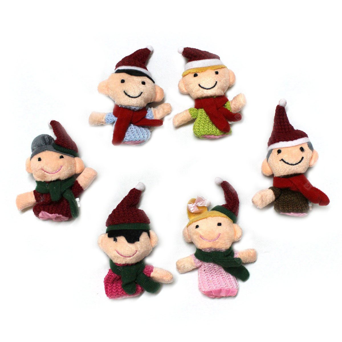 Christmas Family Knitted Finger Doll Interactive Game Props for Intellectual Development - 6Pcs