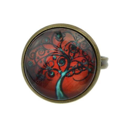 Characteristic Faux Gemstone Tree Round Ring For Women