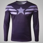 Buy Stylish Round Neck 3D Captain America Print Slimming Long Sleeve Quick-Dry T-Shirt Men L PURPLE