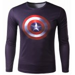 Buy Trendy Round Neck 3D Captain America Print Slimming Long Sleeve Polyester Quick-Dry T-Shirt Men M