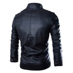 cheap PU Leather Stand Collar Horizontal Zipper Epaulet Rib Spliced Long Sleeves Men's Slimming Jacket