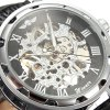 cheap Winner Hollow-out Men Mechanical Watch with Leather Band