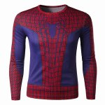 Buy Modish Round Neck Color Block 3D Spider-Man Print Slimming Long Sleeve Quick-Dry T-Shirt Men L