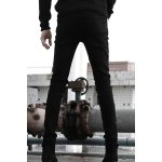 best Nightclub Narrow Feet Double Zipper Bleach Wash Slimming Men's Zipper Fly Black Jeans