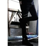 Nightclub Narrow Feet Double Zipper Bleach Wash Slimming Men's Zipper Fly Black Jeans for sale