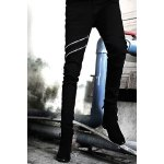 Nightclub Narrow Feet Double Zipper Bleach Wash Slimming Men's Zipper Fly Black Jeans deal