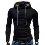 Buy Trendy Hooded Oblique Button Patched Splicing Slimming Long Sleeve Cotton Blend Hoodie Men XL