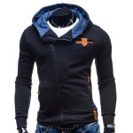 Buy Modish Hooded Patched Splicing Oblique Zipper Slimming Long Sleeve Polyester Hoodie Men 2XL