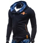 Modish Hooded Patched Splicing Oblique Zipper Slimming Long Sleeve Polyester Hoodie For Men deal