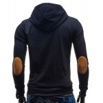 Modish Hooded Patched Splicing Oblique Zipper Slimming Long Sleeve Polyester Hoodie For Men for sale