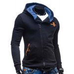 cheap Modish Hooded Patched Splicing Oblique Zipper Slimming Long Sleeve Polyester Hoodie For Men