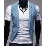Stylish V-Neck Solid Color One Button Slimming Sleeveless Cotton Blend Blue Waistcoat For Men